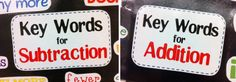 Addition and Subtraction Key Words