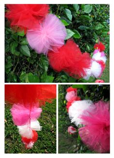 DIY Tulle Pom Pom Garland,  (they were featured in our Valentine's Love photo booth props shoot) perfect for a birthday backdrop