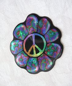 Groovy rare Canadian made psychedelic hologram hippy large peace flower power. $3.00, via Etsy.