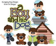 A BOY and HIS DOG, made to order, premade paper piecing, scrapbook page, layout, border on Etsy, $14.99