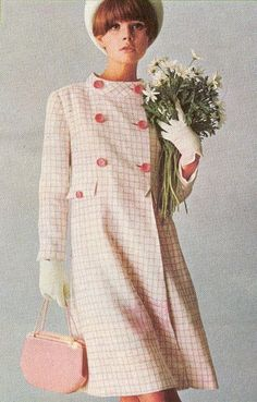 Pale Pink 1960s Check Suit Coat Shape double breasted buttons