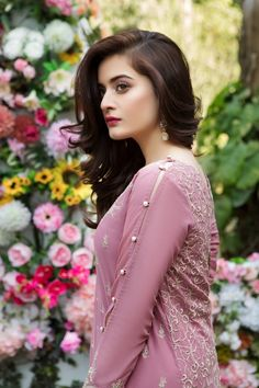 Beautiful Mauve embroidered Pakistani unstitched dress by Imrozia premium embroidered dresses 2018 – Online Shopping in Pakistan Pakistani Fashion Casual, Pakistani Wedding Outfits, Pakistani Dress Design, Pakistani Bridal, Pakistani Dresses, Indian Dresses, Asian Fashion, Indian Outfits, High Fashion