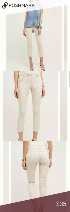 """Blushed Striped Cropped Pants By Pilcro for Anthropologie  Cotton, spandex Slim fit Side slant, back patch pockets  Dimensions: 25.5"""" inseam 9"""" mid rise 12"""" ankle Anthropologie Pants Ankle & Cropped"""