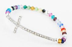 Together We Will Win® Side Cross Bracelet with Swarovski® Crystals