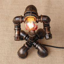 Art déco noir atelier lampe de table e27 vintage rétro robot bureau lumière applique pour l'étude chambre de chevet de bureau de l'atelier(China)