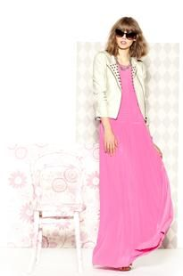 Digging the studded white biker jacket and pink maxi. Rachel Zoe spring 2013 resort