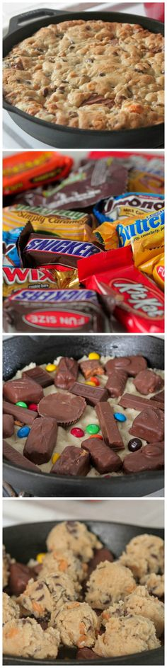 Skillet Baked Candy Bar Stuffed Double Cookie! #delicious #recipe #cake #desserts #dessertrecipes #yummy #delicious #food #sweet