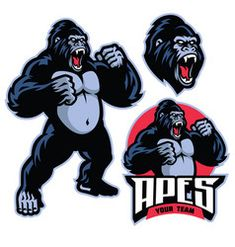 Angry gorilla mascot standing vector Rabbit Vector, Bear Vector, Dog Vector, Gorilla Gorilla, Mascot Design, Badge Design, Logo Design, Turkey Cartoon, Elephant Zoo