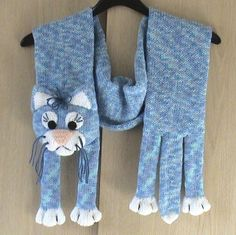 Knitted Blue Cat Scarf