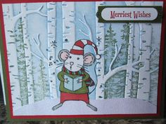 wonderland, woodland embossing folder, Merry Mice, and Christmas magic all from Stampin Up.  Card made by Debbie Reed