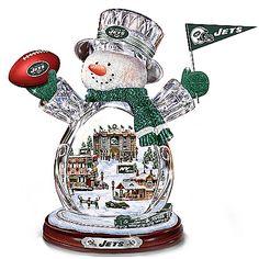 New York Jets Masterpiece Edition Crystal Snowman Figurine $139.96