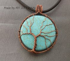 Tree Of Life Turquoise And Antiqued Copper by MadeByMyLeftHand