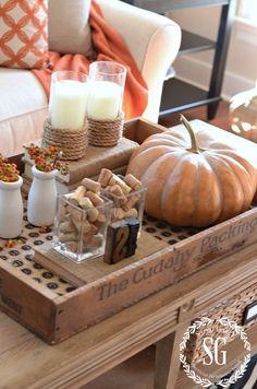 47 Elegant Fall Vignette For Holiday Decor To Happy Fall Coffee Table Vignettes, Fall Vignettes, Decorating Coffee Tables, Kitchen Vignettes, Autumn Decorating, Pumpkin Decorating, Decorating Ideas, Decor Ideas, Diy Ideas