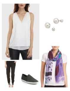 Traveling is all about layers. I usually wear slouchy pants that feel like sweats, but look more polished. Pair them items that you can wear again on your trip , like a crisp white shell and a printed scarf. Slip-on sneakers make security a breeze. Carry a large tote with an extra outfit, sandals & add a clutch for the essentials (phone, ID, etc.)