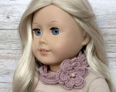 DIY Crochet Pattern – 18 inch Doll Flower Necklace Scarf and Hand Warmers Set PDF 29 (Fits American Girl Dolls) – Digital Download