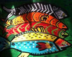 4 fish original PRIMITIVE  folk art painting by Nita