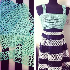 Before and after. 3d printed textile made into clothing.