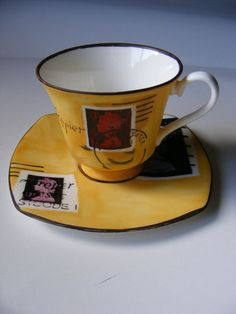 Hand Painted Stamp inspired Cup and Saucer by elizabemmenswilson, £17.00