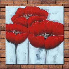 Red Poppies - Hand-painted Modern Flower Oil Painting for Sale   Artwork Wave
