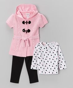 Take a look at this Little Lass Pink Cardigan Set - Infant, Toddler & Girls on zulily today!