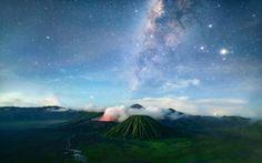 Volcano Island Sky Stars Wallpaper
