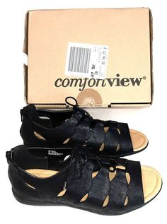 41a0701c9ad4 ComfortView Womens 9W Adjustable Lace Up Gladiator Sandals Black NEW in Box   Comfortview  Gladiator