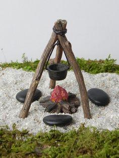 Miniature Campfire Cookout fairy garden fire by TheLittleHedgerow Garden Fire Pit, Fairy Garden Furniture, Fairy Garden Houses, Fairies Garden, Fairy Garden Accessories, Camping Accessories, Fairy Doors, Miniature Fairy Gardens, Garden Crafts