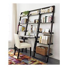 Crate & Barrel leaning desk and bookcases are beautiful and space-saving. To my surprise, they are stable without attaching them to the wall -- perfect for apartment living!