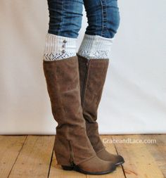 LouLou -off-white: Open-work Knit Leg warmers w/ 3 antique silver buttons - Legwarmers boot socks (item no.9-16). $27.00, via Etsy.