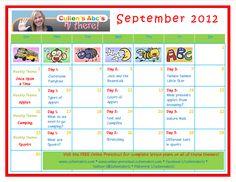 September 2012 Calendar to be used alongside the FREE Online Preschool.  www.cullensabcs.com