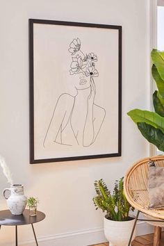 Nadja Line Art Woman With Flowers Art Print Nadja Line Art Frau mit Blumen Kunstdruck Art Floral, Reproductions Murales, Art Encadrée, Wal Art, Urban Outfitters Home, Summer Deco, Inspiration Art, Bedroom Art, Bedroom Prints