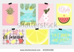 Summer vector greeting cards, invitation, tags and posters with fun elements, hand drawn lettering and textures set. Collection of palm tropical leaves, watermelon, banana, pineapple and much more Notebook Diy, Summer Painting, Hand Drawn Lettering, Mobile Covers, Cool Diy Projects, Invitation, Paper Design, Diy Cards, Planner Stickers