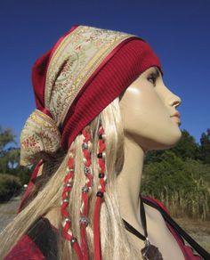Womens Bohemian Style Beanie Scarf Hat Red Flower by Vacationhouse