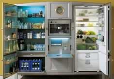 This luxury fridge has 26.6 cubic feet of storage and is customizable to your kitchen.