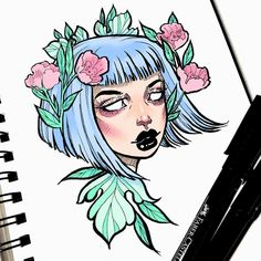 I had some fun shading while colouring this one in between paintings/drawings yesterday • digitally coloured with @procreateapp on my iPad mini #graphicartery #draw #sketch #ink #sketchbook #ipad #illustration #artist #artcollective #art #myart #instaart #drawing #floral #occult #witch