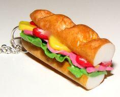 Polymer Sandwich Necklace  Sub Sandwich Food by Sweetystuff, £12.00