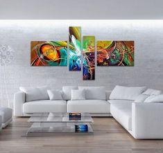 Peinture Huile Tableau Abstraite Art Moderne Ours Coloré ...