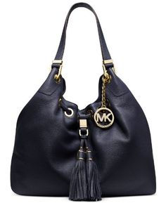 Women's Shoulder Bags - NEW AUTHENTIC MICHAEL KORS LARGE DRAWSTRING SHOULDER TOTE Navy * To view further for this item, visit the image link.