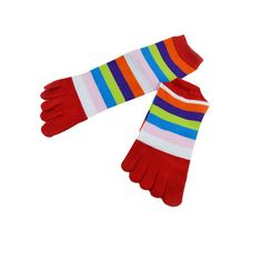 Colorful Stripe Toe Socks