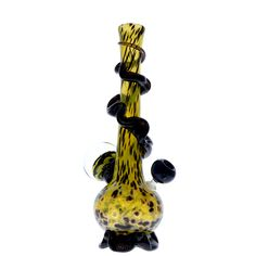 Noble Glass 14 Inch Tall Yellow Glass Bong with Black Wrap and Foot & Glass Flower Marble This 14 inch tall glass bong from Noble Glass comes with a beautiful wrap all around the neck of the bong. The round bottom of this glass bong rests on the artistic