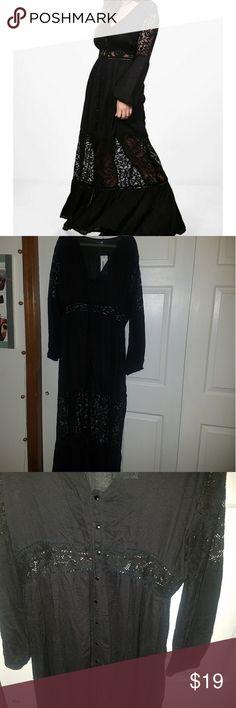 Long black button down dress Long black button down dress with lace detail Boohoo Plus Dresses Maxi