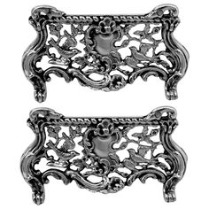 Rare French All Sterling Silver Menu, Place, Name Holders Six Pieces Rococo | $1500.00