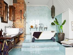 This Swedish blue tiled bathroom is our fantasy bathroom of the day. | Tumblr