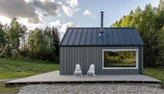 A shelter for a hunter's family leisure time is located on a small hill in the deep Lithuanian forest. Design by Devyni architektai View in gallery View in gallery View in gallery View in gallery View in gallery View in gallery View in gallery Family Leisure, Casas Containers, Hunting Cabin, Tiny House Design, Cabins In The Woods, House And Home Magazine, Shelter, Backyard, Forest Design