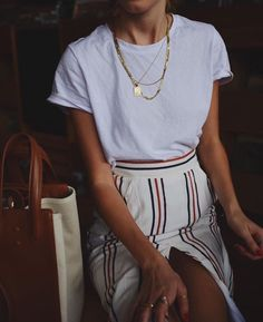 striped skirt and tee.