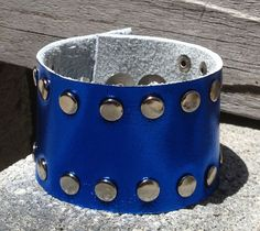 metallic BLUE LEATHER cuff BRACELET studded FOR HER by whackytacky, $24.99