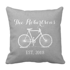 Rustic Grey Classic Bicycle Wedding ceremony Monogram Throw Pillow. >>> See more at the picture