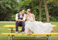 picnic table wedding portraits