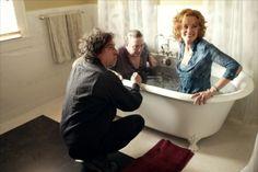 Tim Burton, Albert Finney and Jessica Lange on-set of Big Fish 2003