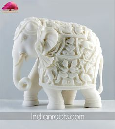 Royal Indian Elephant sculpture made in pure white marble by Aapno Rajasthan on Indianroots.com